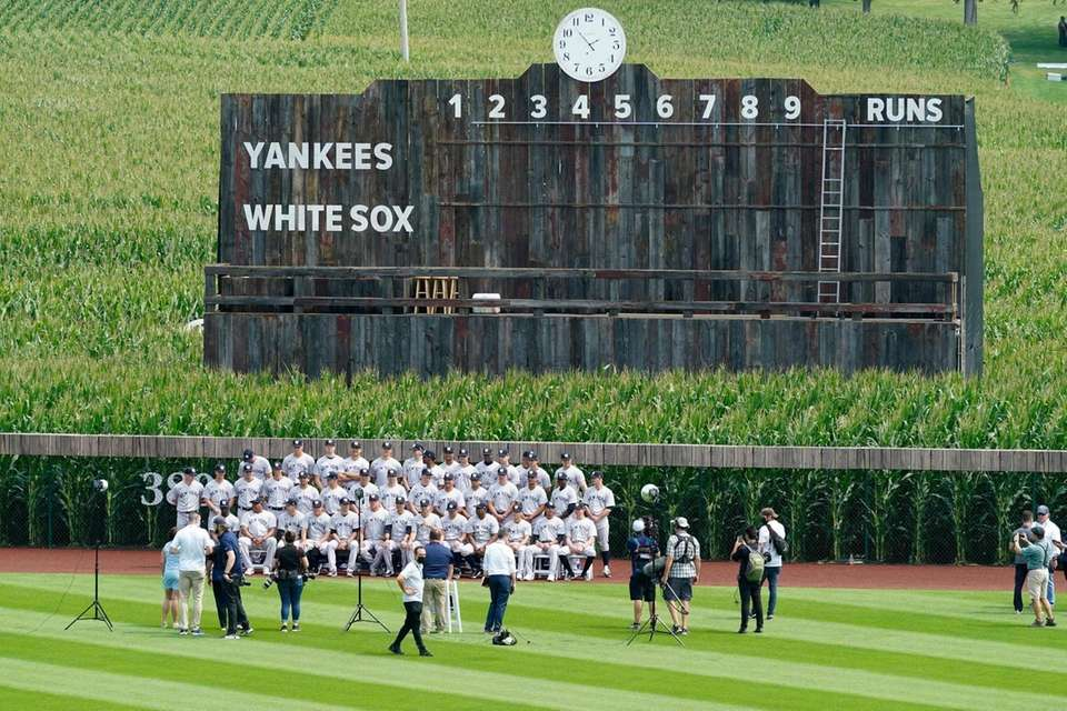 New York Yankees players and coaches pose for
