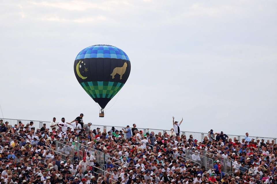 A hot air balloon is seen during the