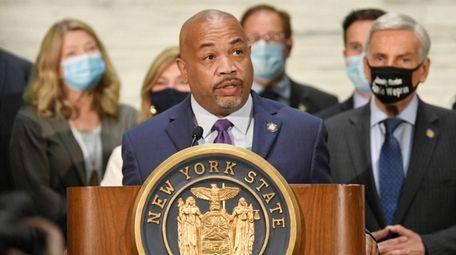 Assembly Speaker Carl Heastie (D-Bronx) speaks to reporters