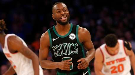 Kemba Walker of the Boston Celtics reacts after