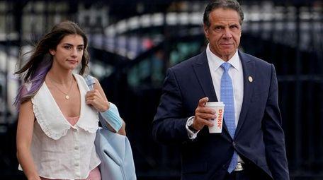 New York Gov. Andrew Cuomo prepares to board