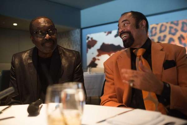 Earl Monroe, left, and Walt Frazier talk about