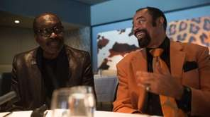 Earl Monroe, left, and Walt Frazier talk about