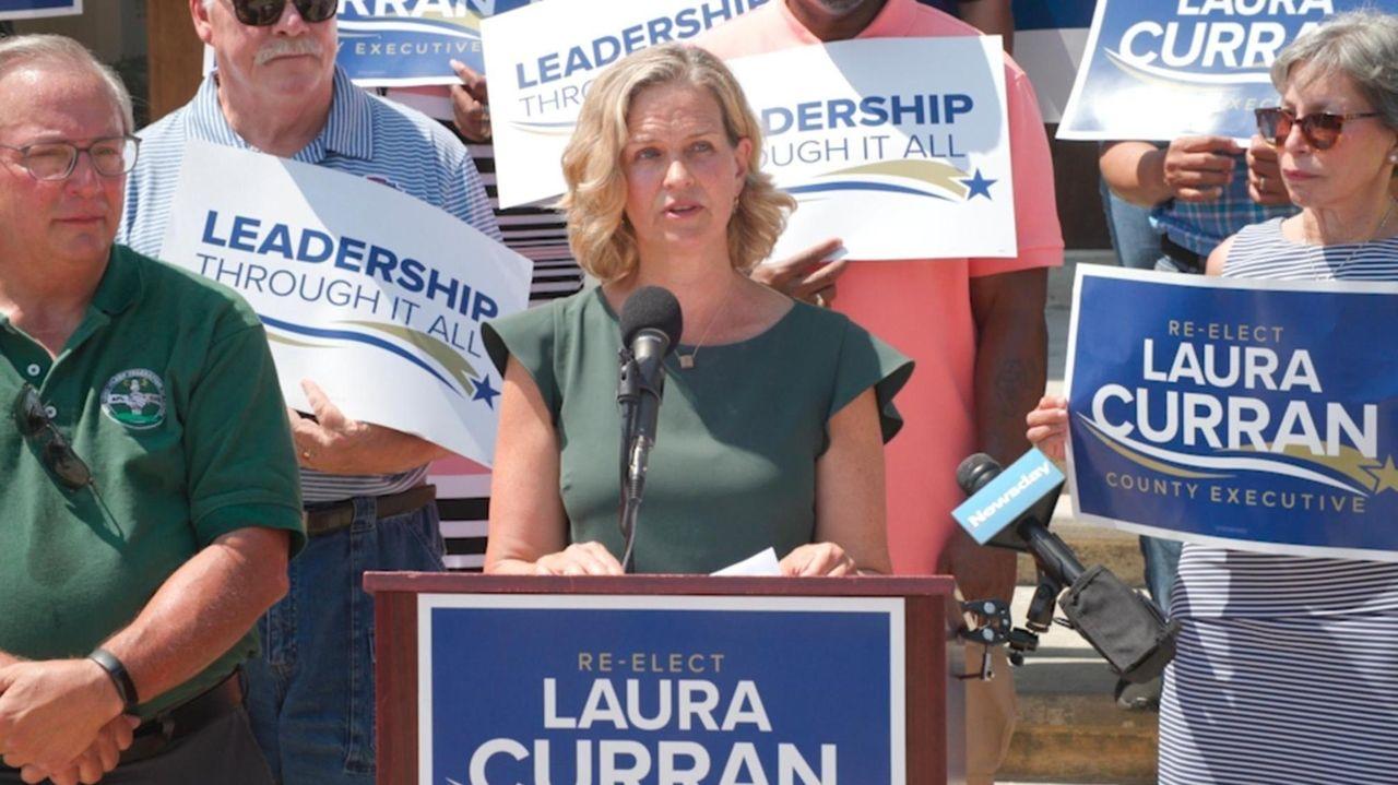 Nassau County Executive Laura Curran stood outside the
