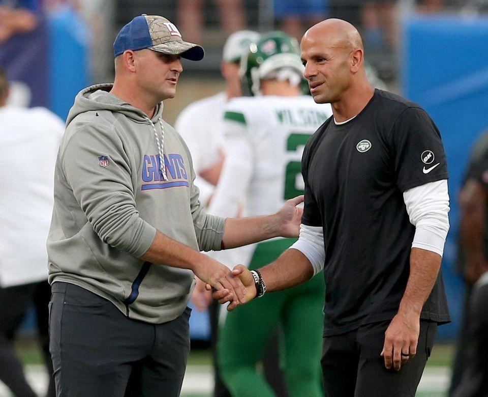 New York Giants head coach Joe Judge (left)