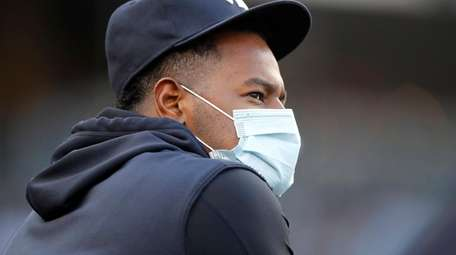 Luis Severino of the Yankees looks on against