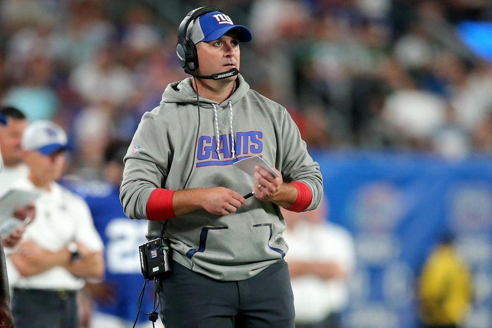 Giants head coach Joe Judge coaches against the