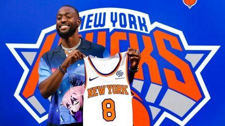 Knicks point guard Kemba Walker during a news