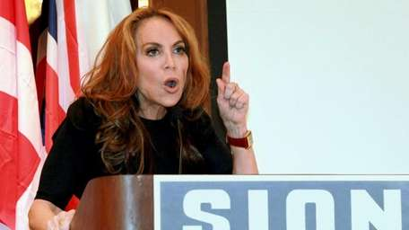 Blogger Pamela Geller, speaks at a conference she