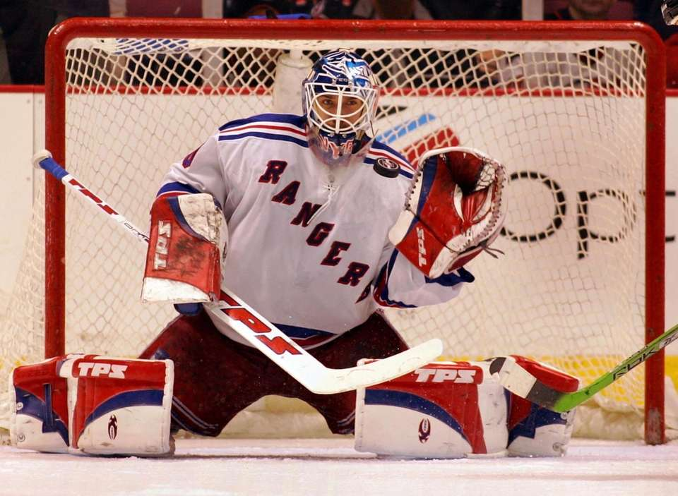 Rangers goalie Henrik Lundqvist against the Devils in