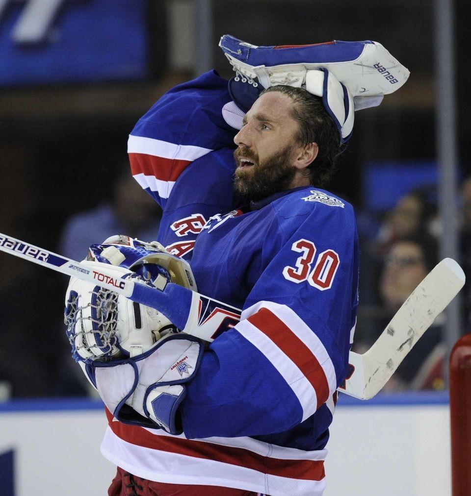 New York Rangers goalie Henrik Lundqvist is seen