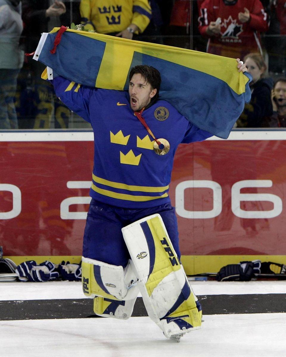 Torino, Italy-February 26, 2006. sweden goalie henrik lundqvist