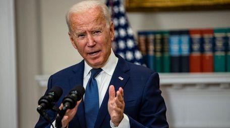 President Joe Biden speaks in the Roosevelt Room