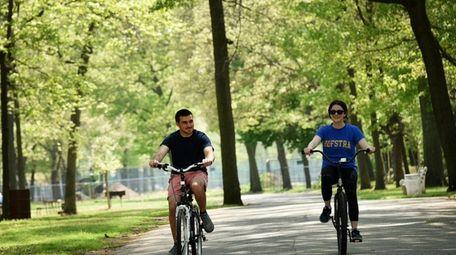 Bike riders in Hempstead Lake State Park.