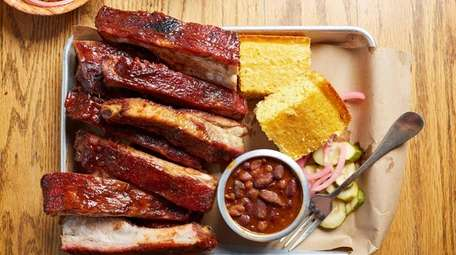 St. Louis style ribs, cornbread, and baked beans