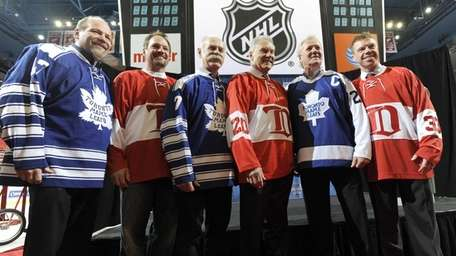 Retired Toronto Maple Leafs players, from left, Wendell