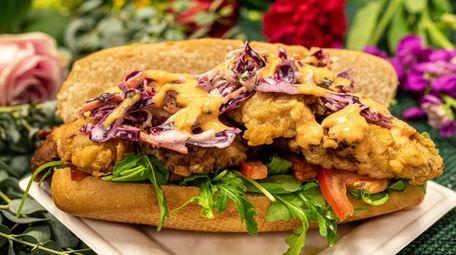 A fried oyster mushroom po' boy sandwich from