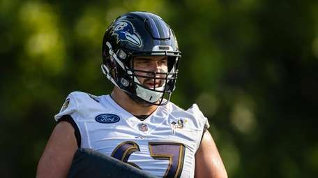 Ben Bredeson #67 of the Baltimore Ravens looks