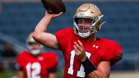 Notre Dame's Jack Coan during practice on Aug.