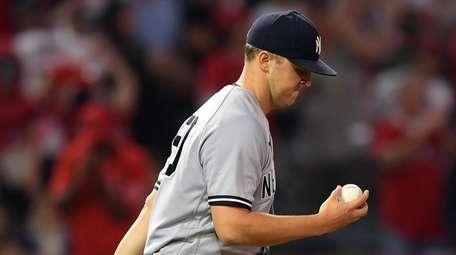 Jameson Taillon of the Yankees reacts on the