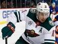 Zach Parise of the Wild controls the puck