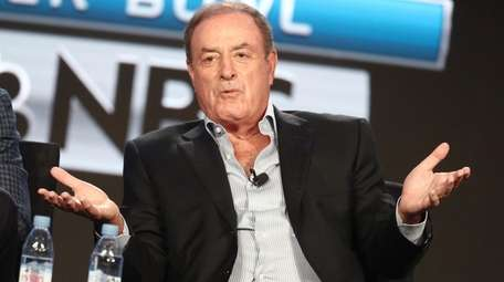 Al Michaels speaks onstage during the NBCUniversal portion