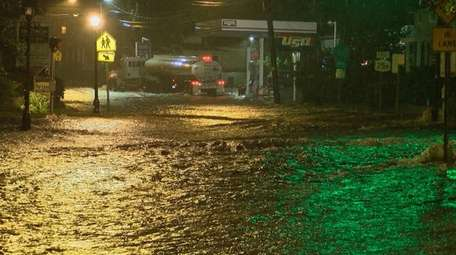 Port Jefferson is heavily flooded as the the