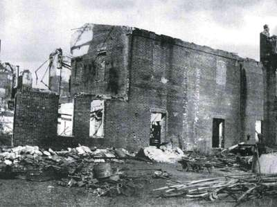 The Setauket Rubber Factory after the 1904 fire.