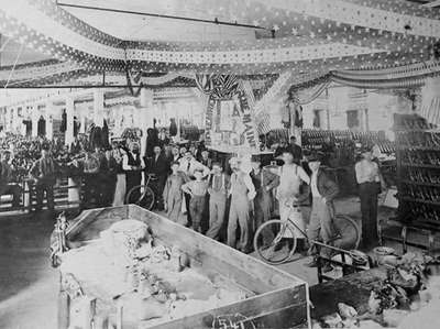 An interior of the original rubber factory in