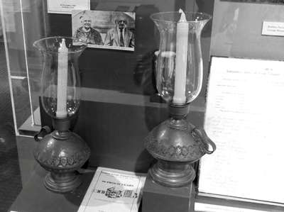 Lamps from Agudas Achim Synagoge are displayed at