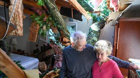 An oak tree that crashed through their ceiling