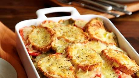 Savory bread pudding made with roasted artichoke hearts,