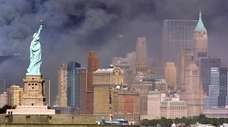 Smoke fills the skies above Manhattan right after