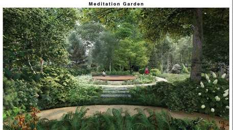 Meditative gardens and walking paths in a rendering