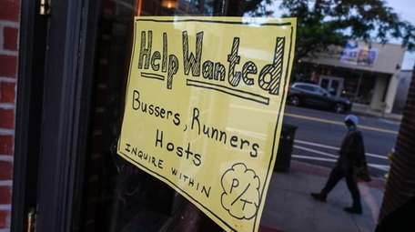 A help wanted sign at BrickHouse Brewery and
