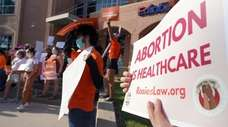Abortion rights supporters in Edinburg, Texas, protest a