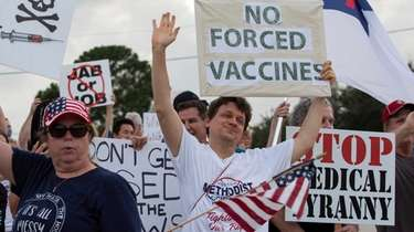 Demonstrators at Houston Methodist Baytown Hospital in Baytown,
