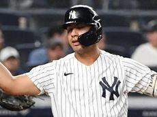 Yankees shortstop Gleyber Torres reacts after he struck