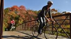 Cruising over a small bridge along the Bethpage