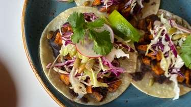 Camote tacos with sweet potatoes, black beans puree