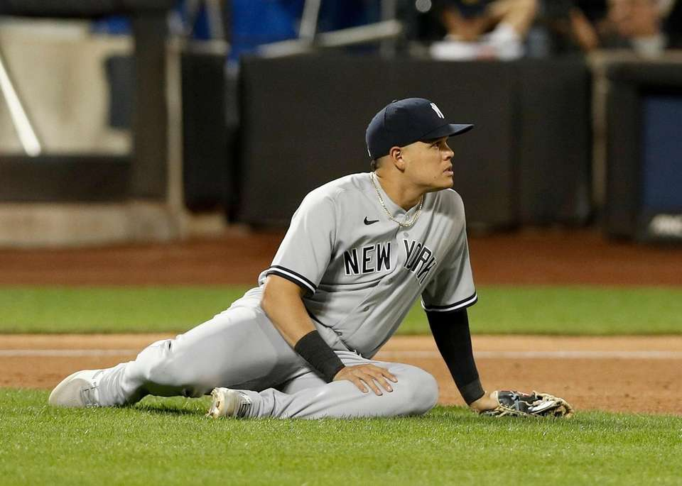 Gio Urshela of the Yankees looks on after