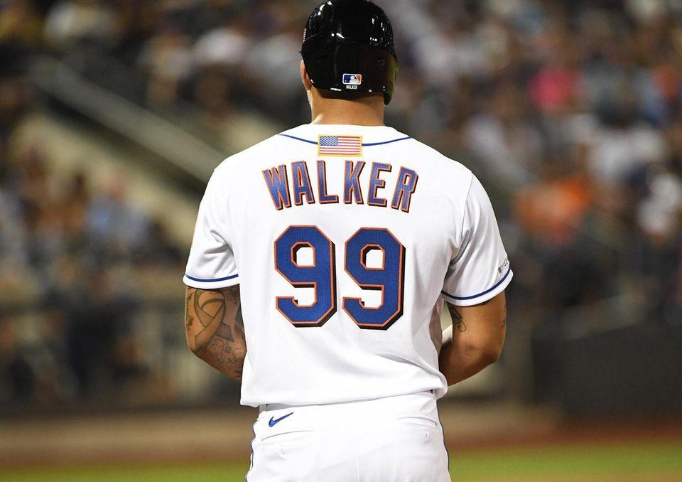 New York Mets starting pitcher Taijuan Walker wears