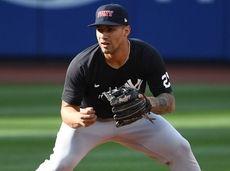 New York Yankees shortstop Gleyber Torres warms up