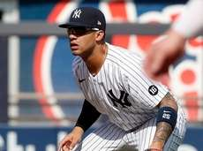 Gleyber Torres #25 of the Yankees defends at