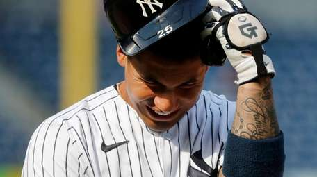 Gleyber Torres of the Yankees reacts after flying