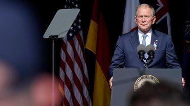 Former President George W. Bush speaks during a