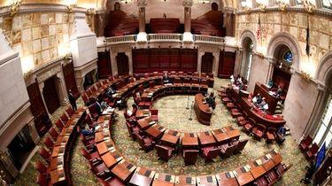 View of New York State's senate chamber. Members