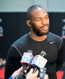 UFC light heavyweight champion Jon Jones is interviewed