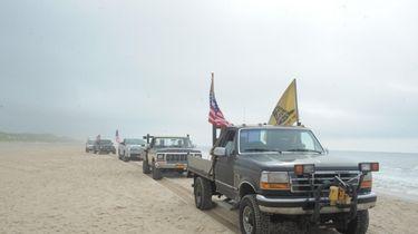 Some East Hampton residents drove their trucks on