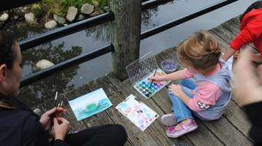 Kids and families can paint and draw outside